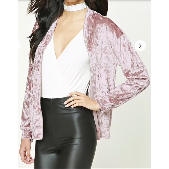 Boutique Tops - Mauve Crushed Velvet Bomber Jacket